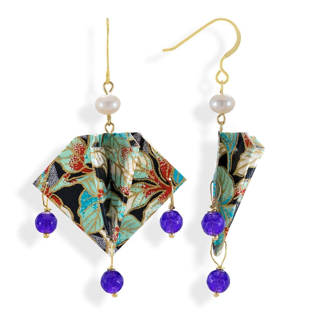 Handmade Gold Plated Silver Multicolor Manta Rays Origami Earrings With Gemstones - Anthos Crafts