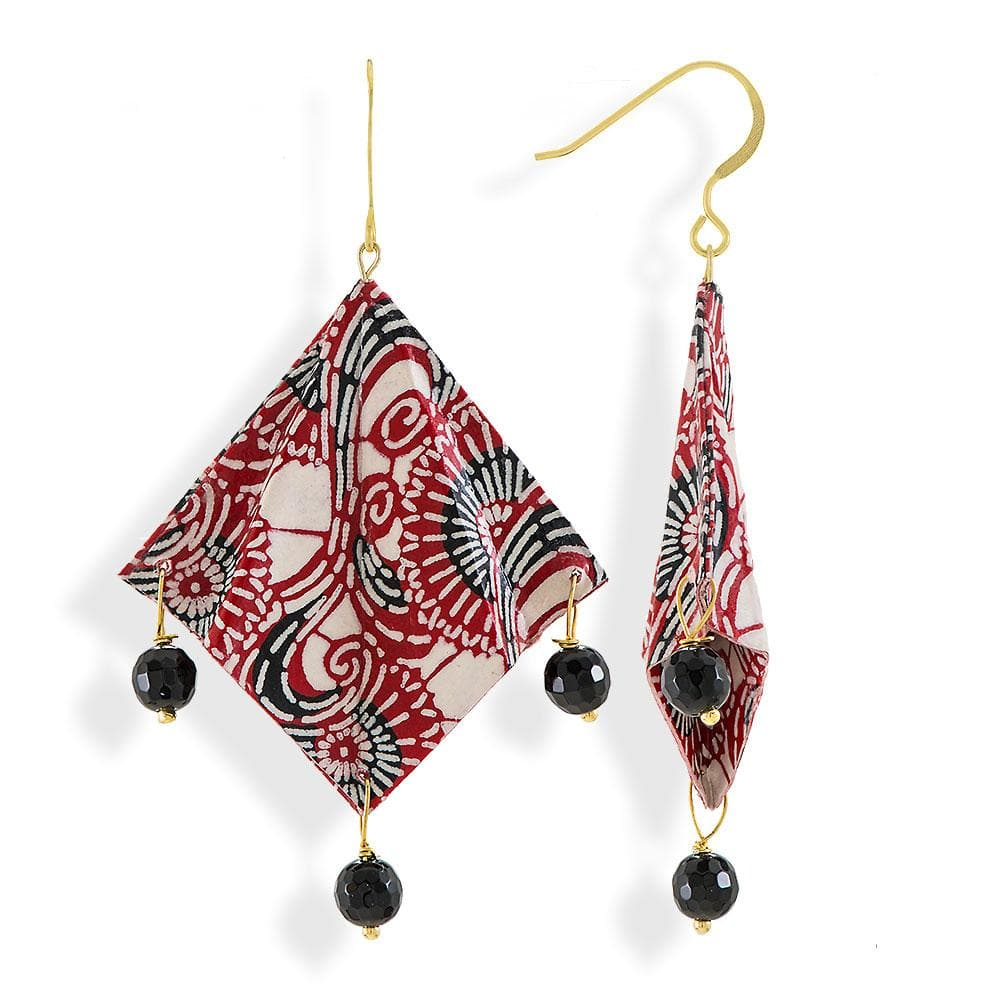 Handmade Gold Plated Silver Red White Black Mantra Origami Earrings With Gemstones - Anthos Crafts