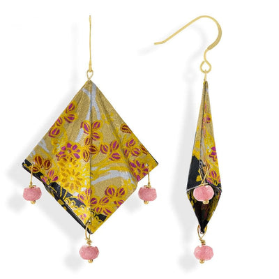 Handmade Gold Plated Silver Gold Black Mantra Origami Earrings With Gemstones - Anthos Crafts