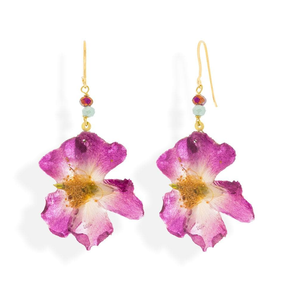 Handmade Gold Plated Silver Wild Rose Flower Dangle Earrings With Swarovski Stones - Anthos Crafts