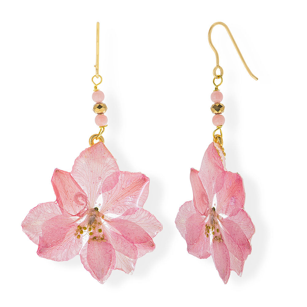 Handmade Gold Plated Silver Delphinium Flower Dangle Earrings With Swarovski Stones - Anthos Crafts