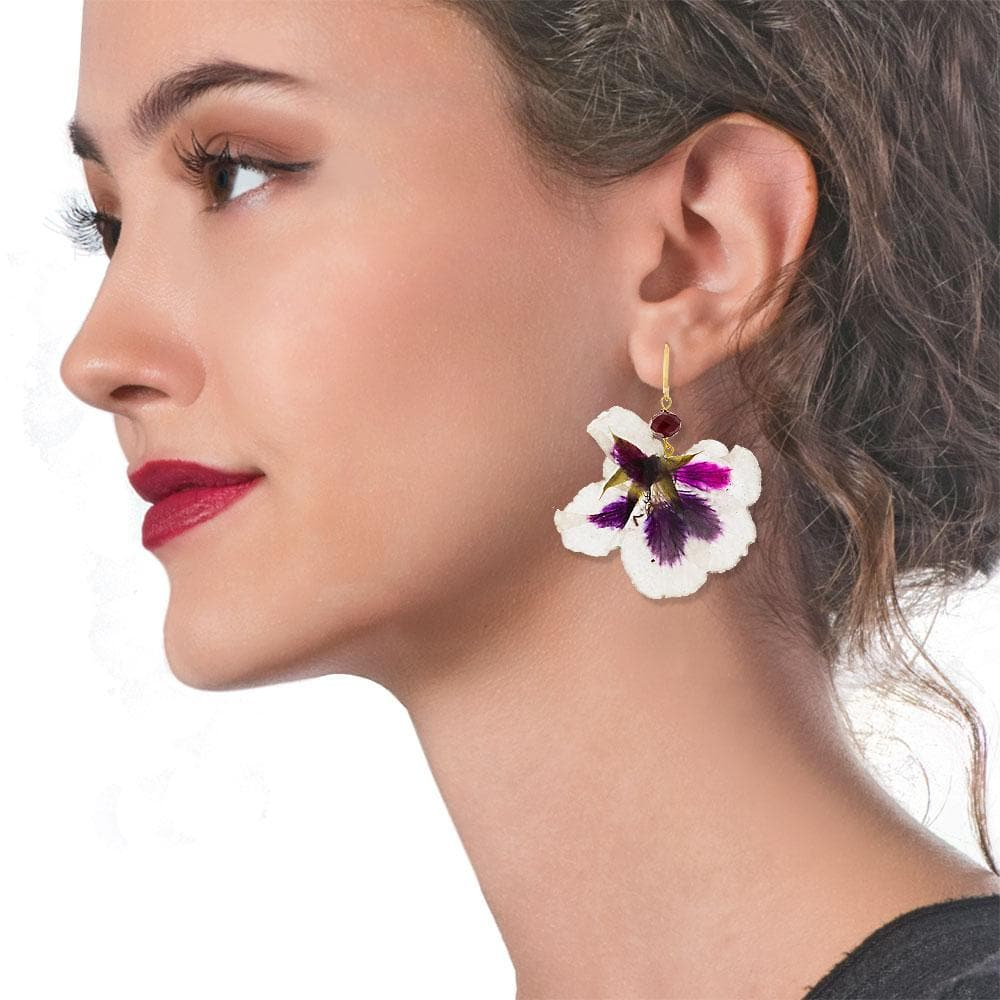 Handmade Gold Plated Silver Pelargonium Flower Dangle Earrings With Swarovski Stones - Anthos Crafts