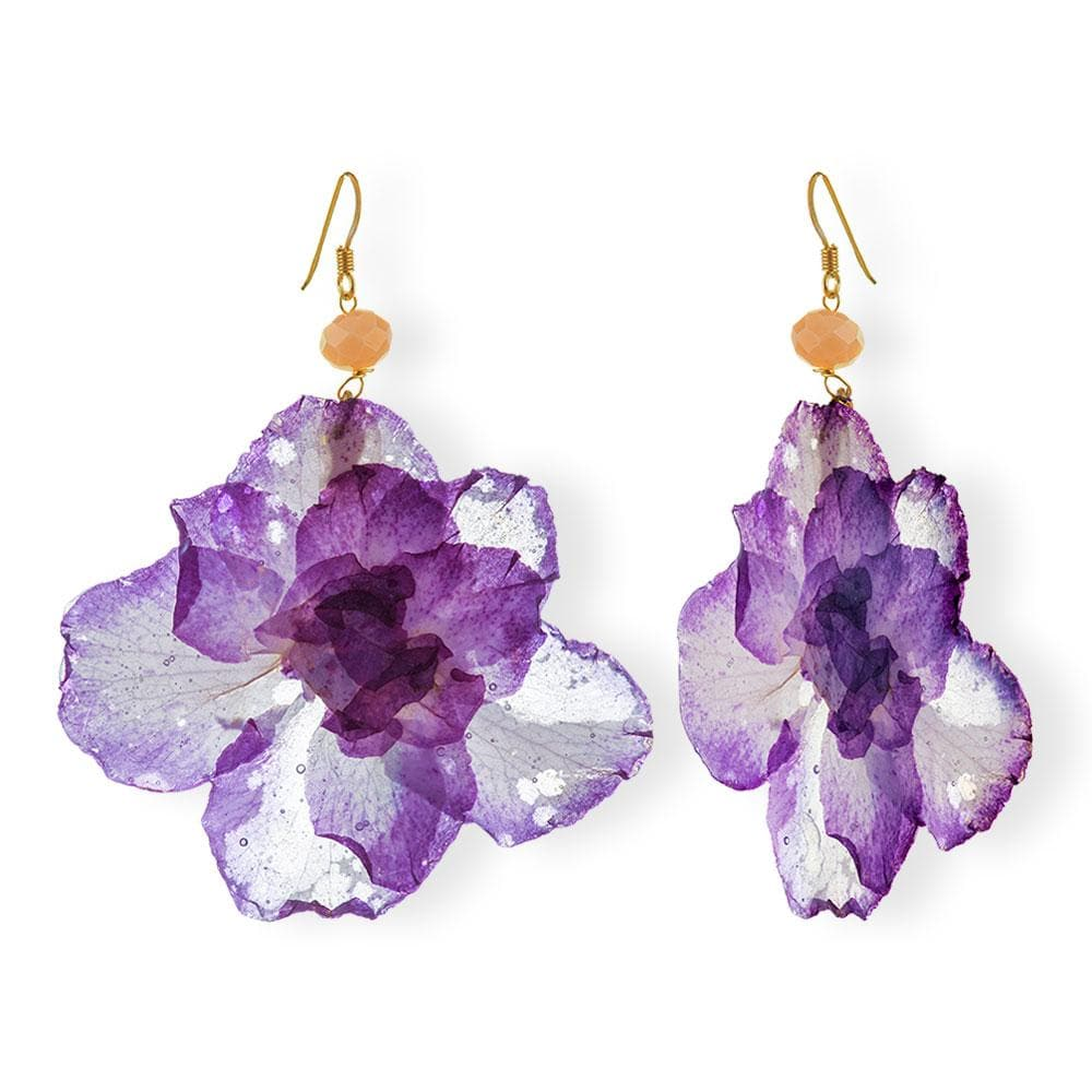 Handmade Gold Plated Silver Azalea Flower Dangle Earrings With Swarovski Stones - Anthos Crafts