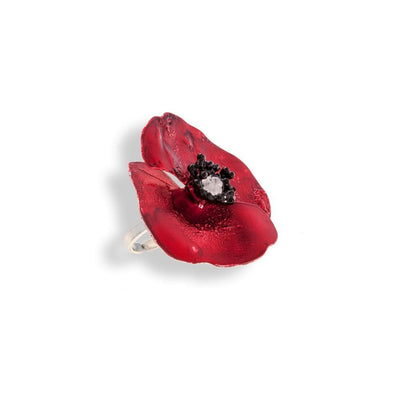 Handmade Sterling Silver Red Poppy Flower Ring - Anthos Crafts