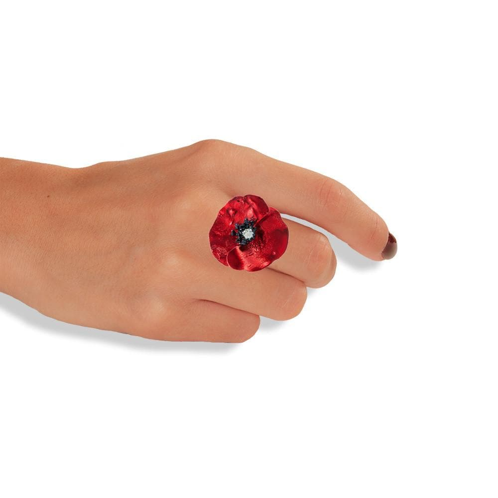 Handmade Sterling Silver Impressive Red Poppy Flower Ring - Anthos Crafts