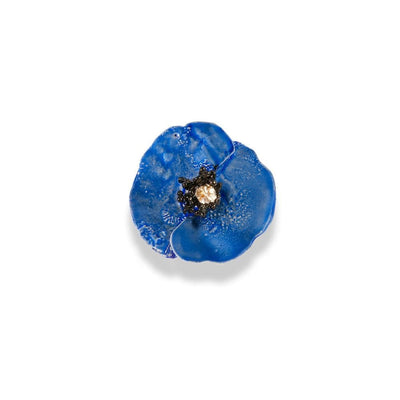 Handmade Sterling Silver Sky Blue Poppy Flower Ring - Anthos Crafts