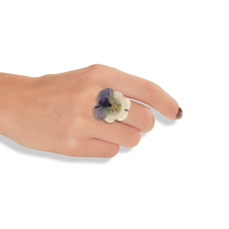 Handmade Silver Pansy Ring Made Of Purple & Yellow Flower Petals - Anthos Crafts