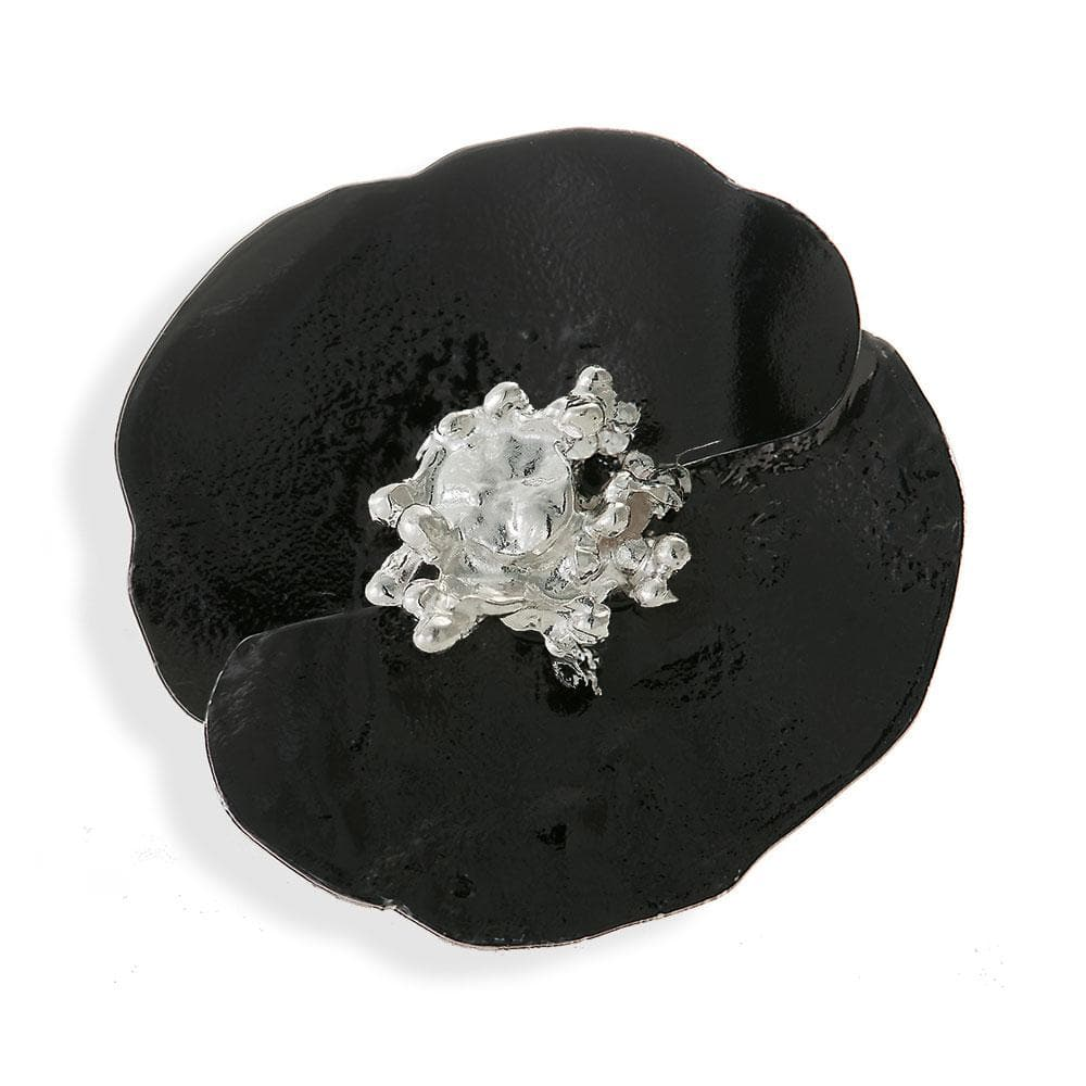 Handmade Sterling Silver Impressive Black Poppy Flower Ring - Anthos Crafts