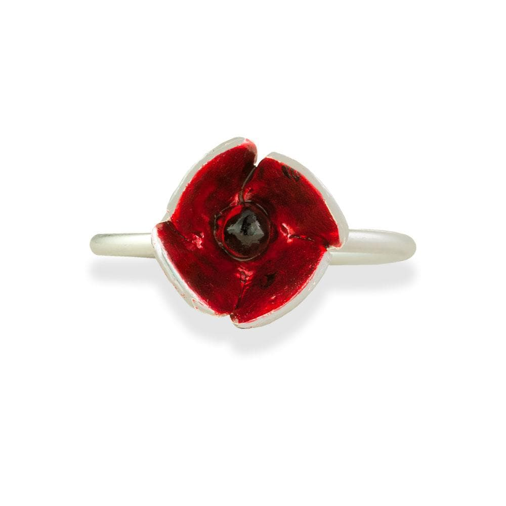 Handmade Silver Little Red Flower Ring - Anthos Crafts