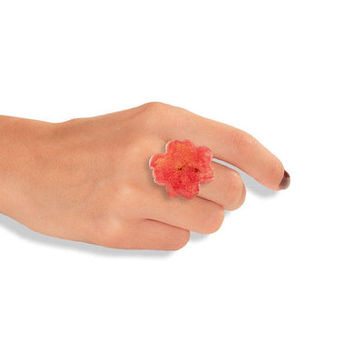 Handmade Silver Ring Made Of Peach Flower Petals - Anthos Crafts