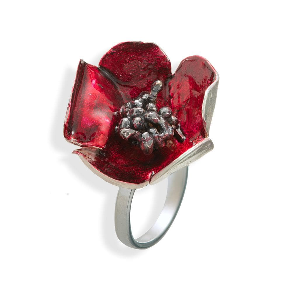 Handmade Silver Red Anemone Flower Ring With Black Stamens - Anthos Crafts