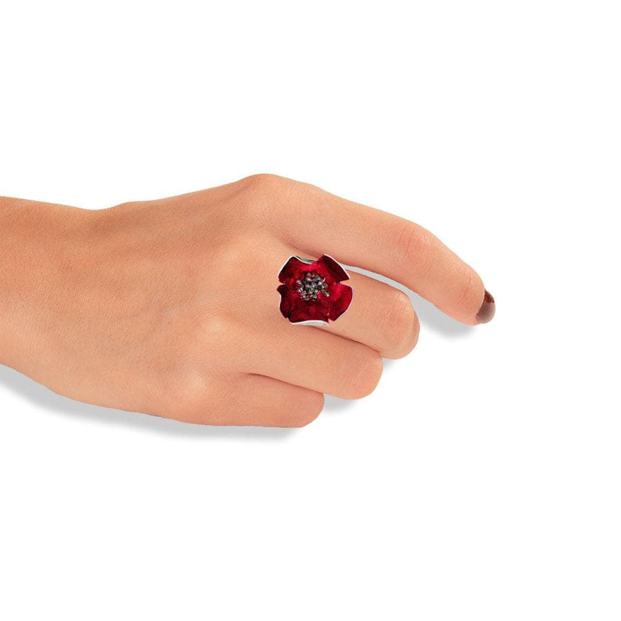 Handmade Silver Red Anemone Flower Ring With Black Stamens