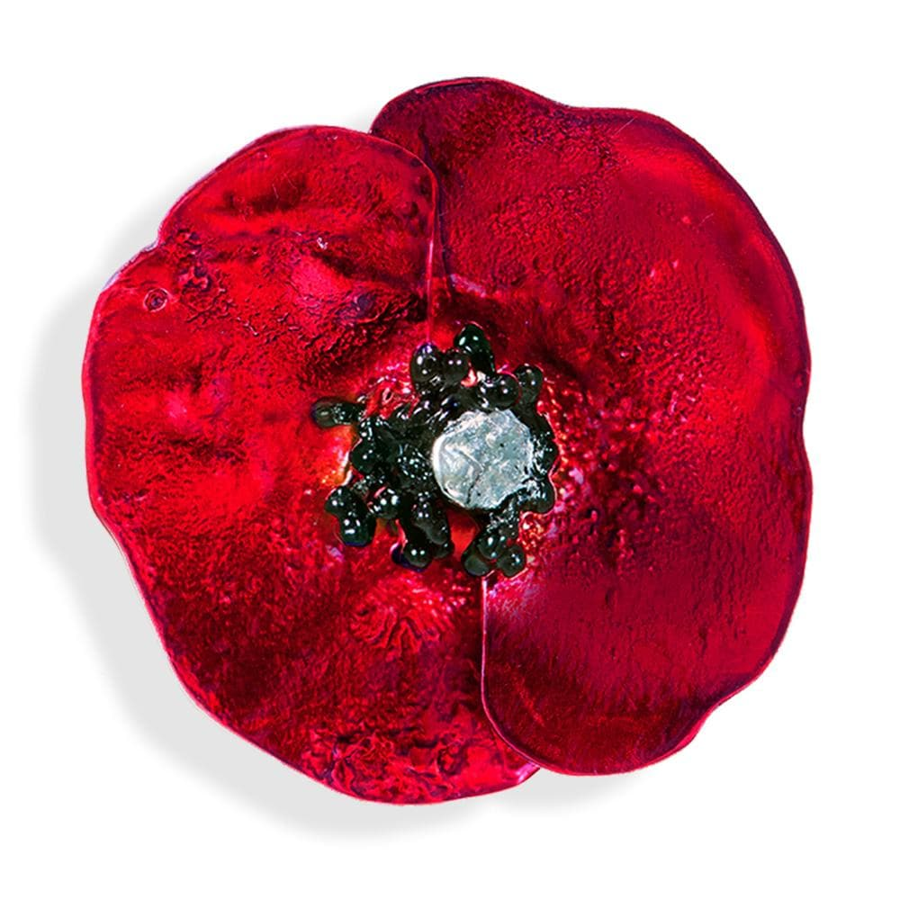 Handmade Silver Red Poppy Flower Brooch - Anthos Crafts