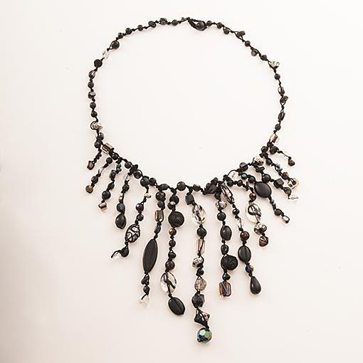 Handmade Necklace Black Clear Crystals - Anthos Crafts