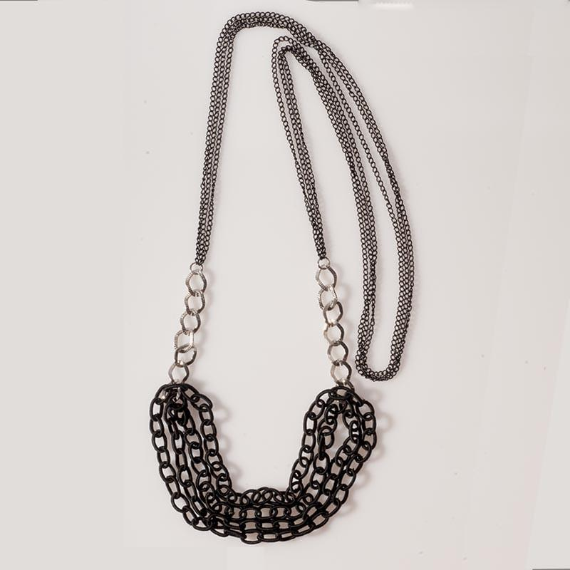 Long Chain Necklace Black - Anthos Crafts