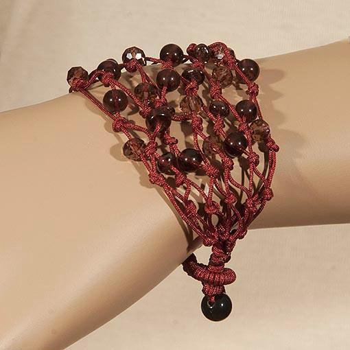 Handmade Burgundy Bracelet With Luminous Crystals - Anthos Crafts
