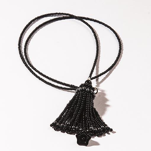 Handmade Black Short Tassel Necklace - Anthos Crafts