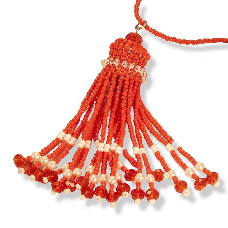 Handmade Orange and Pearl Beaded Tassel Necklace - Anthos Crafts