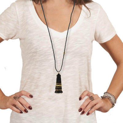 Handmade Black Gold Shimmering Tassel Necklace - Anthos Crafts