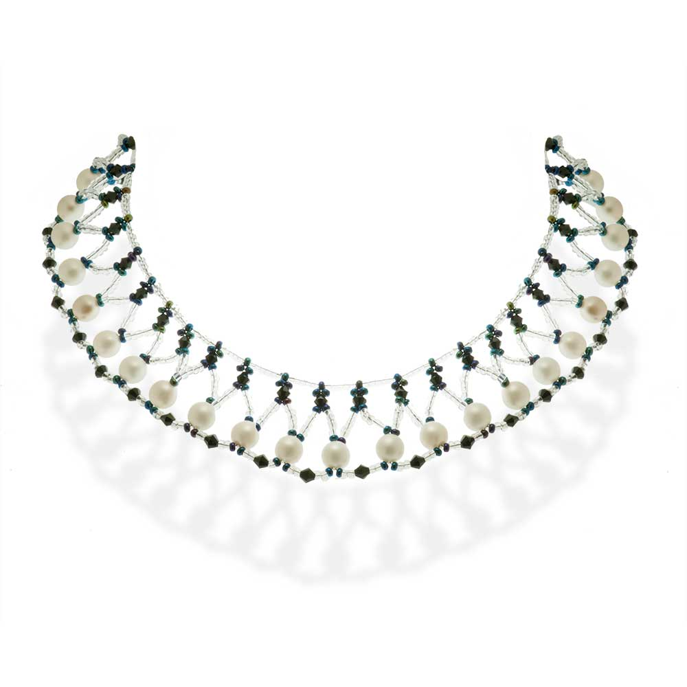 Handmade Beaded Choker Necklace with Pearls - Anthos Crafts