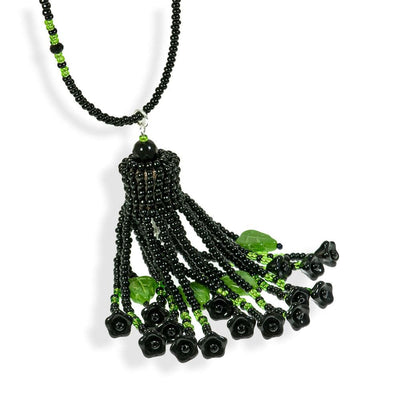 Handmade Black Green Shimmering Long Tassel Necklace - Anthos Crafts