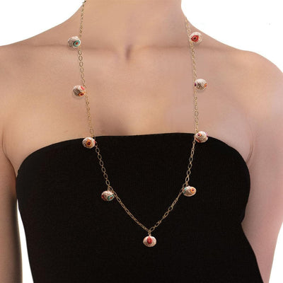 Handmade Long Gold Chain Necklace With Multicolor Pink Ecru Beads - Anthos Crafts
