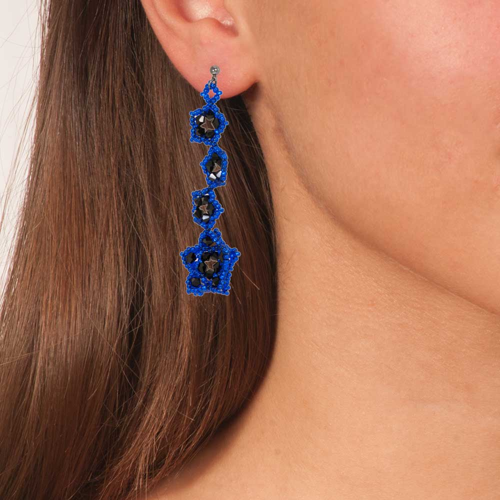 Handmade Beaded Shimmering Long Earrings Stars Blue Black - Anthos Crafts