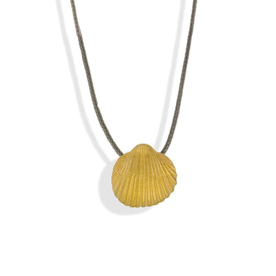 Handmade Short Necklace With A Gold Plated Silver Seashell Pendant & Pearls - Anthos Crafts
