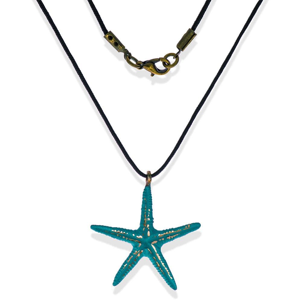 Handmade Short Necklace With A Turquoise Sparkling Starfish Pendant - Anthos Crafts