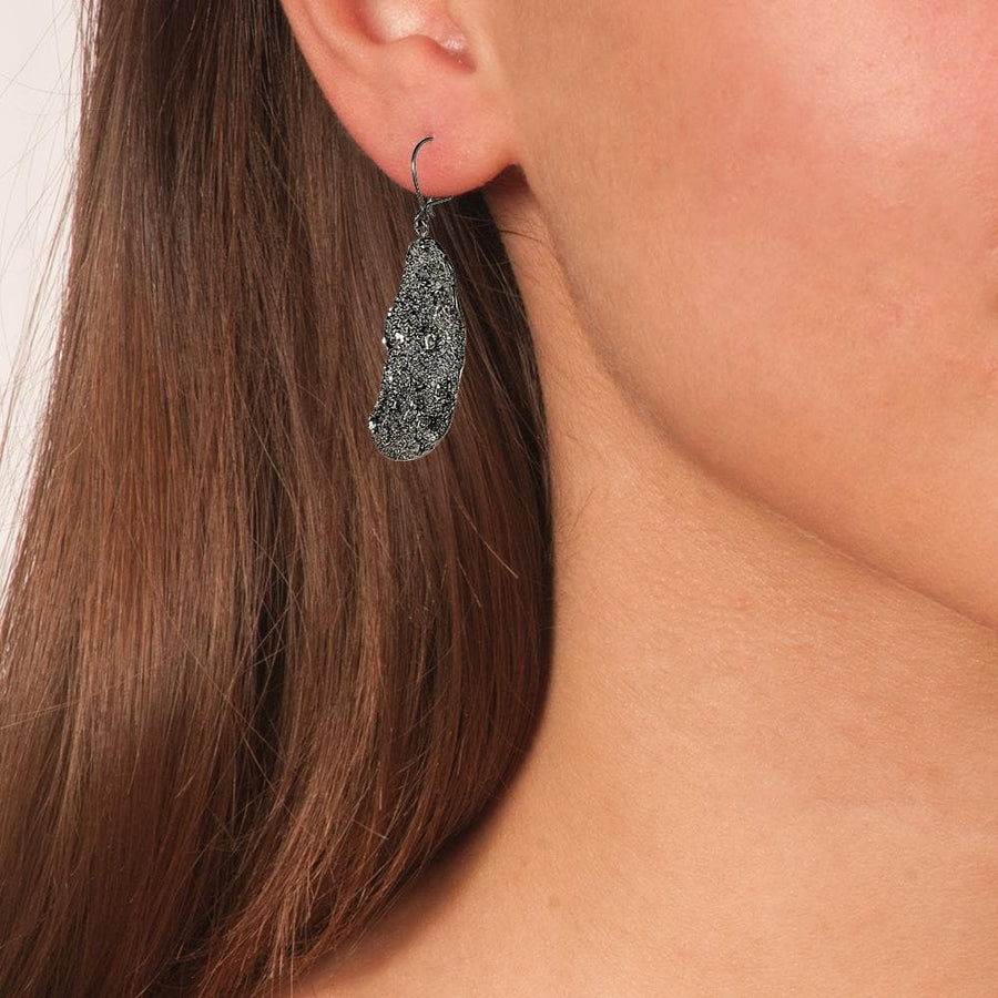 Black Oxidized Silver Sparkling Drop Earrings