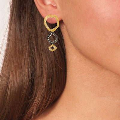 Handmade Gold & Black Plated Silver Sparkling Long 3 Rings Earrings - Anthos Crafts