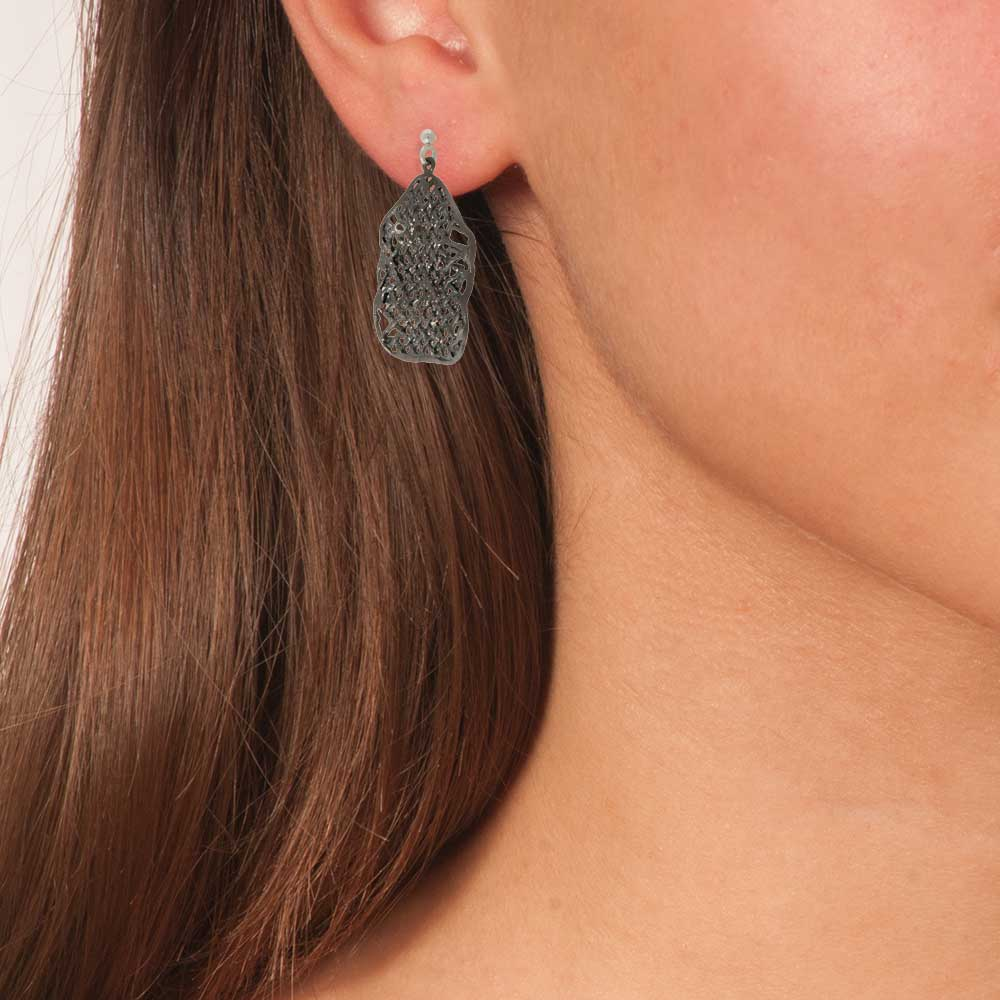 Handmade Black Oxidized Silver Sparkling Grid Dangle Earrings - Anthos Crafts