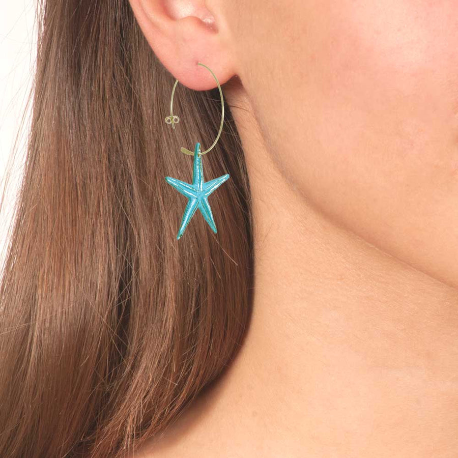 Handmade Bronze Sky Blue Hoop Starfish Earrings - Anthos Crafts