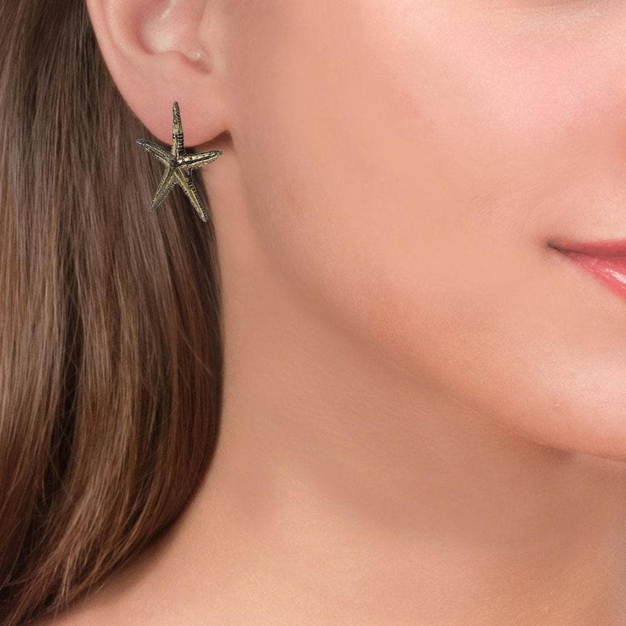 Handmade Oxidized Bronze Stud Starfish Earrings - Anthos Crafts
