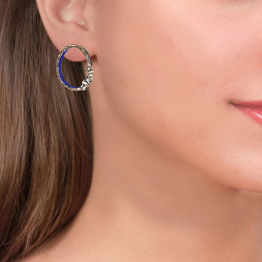 Handmade Bronze Sparkling Ring Earrings Blue Inside - Anthos Crafts