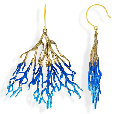 Handmade Bronze Royal & Sky Blue Sparkling Long Coral Earrings - Anthos Crafts