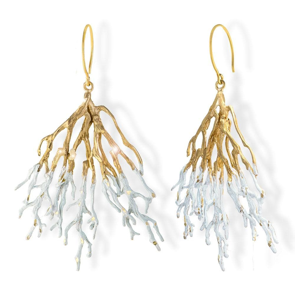 Handmade Gold White Sparkling Long Coral Earrings - Anthos Crafts