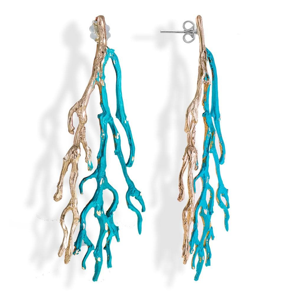 Handmade Bronze Turquoise Sparkling Long Coral Drop Earrings - Anthos Crafts