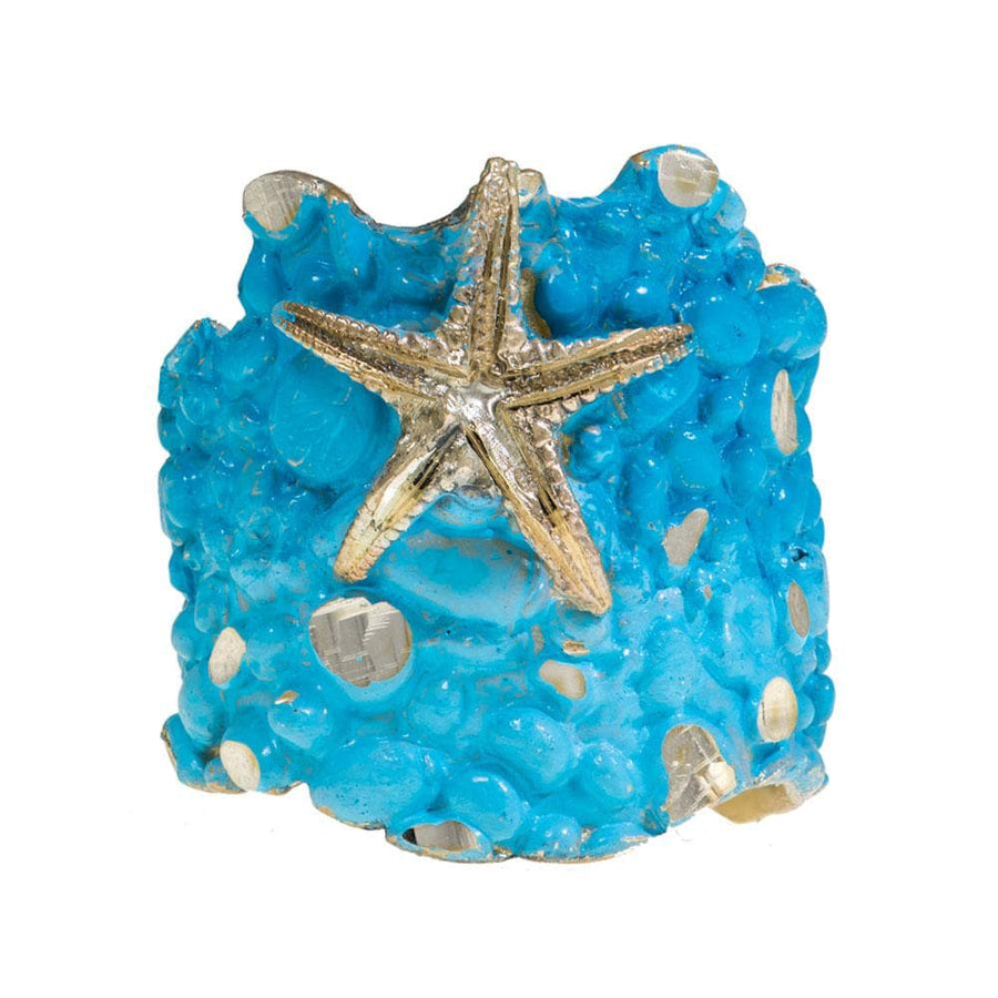 Handmade Bronze Turquoise Shimmering Starfish Long Ring - Anthos Crafts