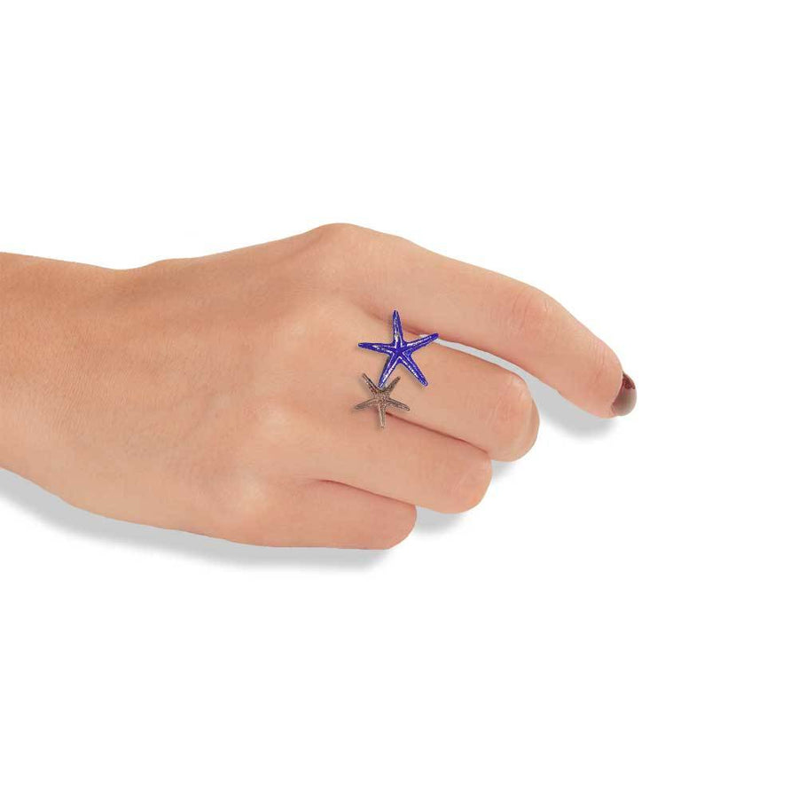 Handmade Bronze Silver Blue Double Starfish Ring - Anthos Crafts