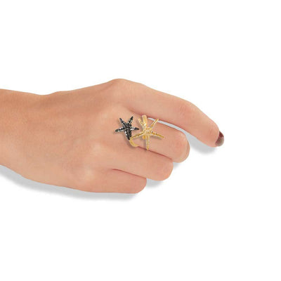 Handmade Gold & Black Plated Silver Diamondized Double Starfish Ring - Anthos Crafts