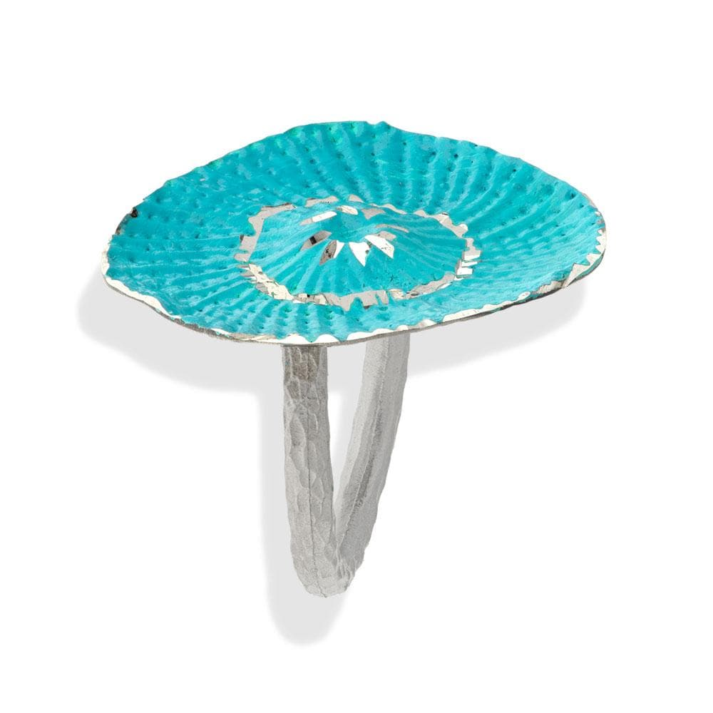 Handmade Bronze Silver Turquoise Shimmering Sea Flower Ring - Anthos Crafts
