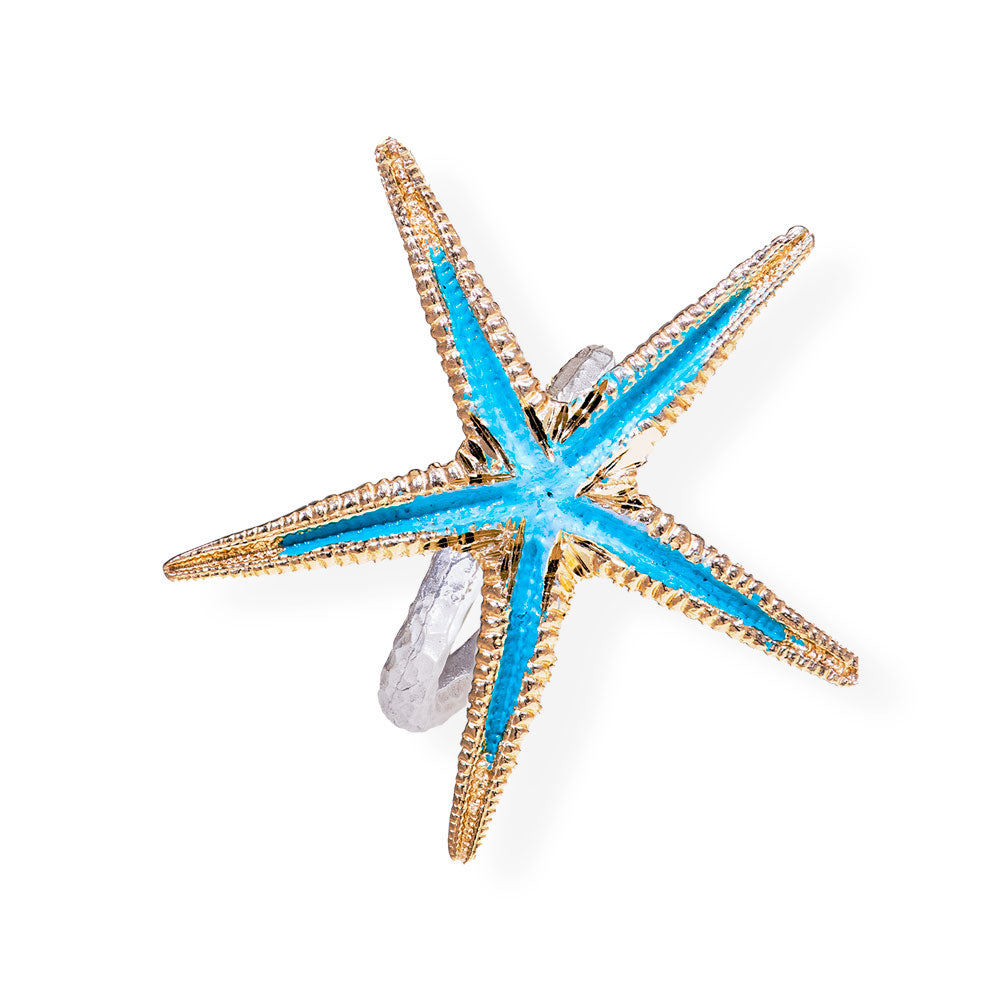 Handmade Bronze Silver Turquoise Shimmering Starfish Ring - Anthos Crafts