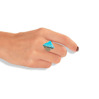 Handmade Bronze Silver Turquoise Shimmering Diamondized Rhombus Ring - Anthos Crafts