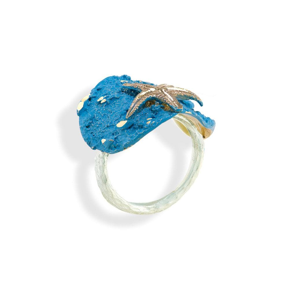Handmade Bronze Turquoise Shimmering Starfish Silver Ring - Anthos Crafts