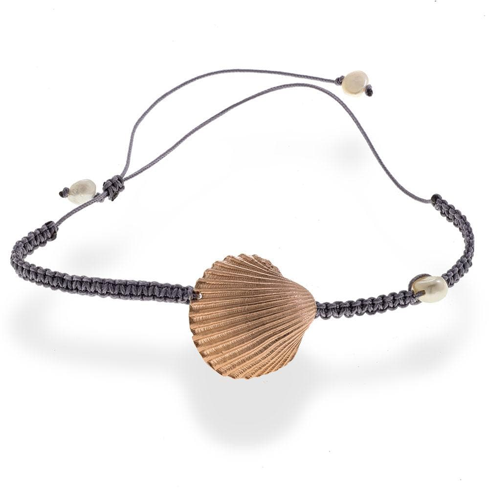 Handmade Macrame Gray Bracelet With A Rose Gold Plated Seashell and Pearls - Anthos Crafts