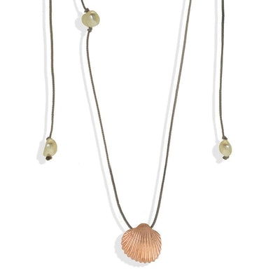 Handmade Short Necklace With A Rose Gold Plated Silver Seashell Pendant & Pearls - Anthos Crafts