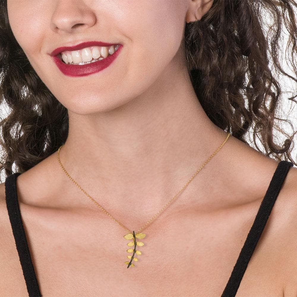 Short Gold Plated Silver Chain Necklace Leave With Black Stem - Anthos Crafts
