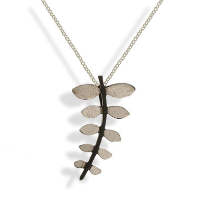 Short Silver Chain Necklace Leave With Black Stem - Anthos Crafts
