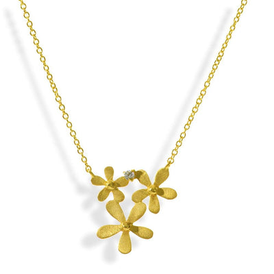 Short Gold Plated Silver Chain Necklace Little Flowers - Anthos Crafts